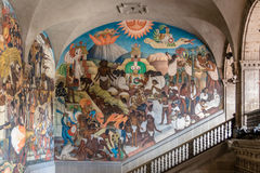 National Palace and the famous mural The Legend of Quetzalcoatl and The History of Mexico by Diego Rivera - Mexico City - Mexico Stock Photo