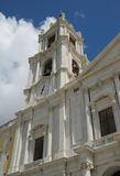 National Palace of Mafra. View of National Palace of Mafra, clock and bells tower Royalty Free Stock Images