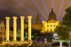 National Palace of Montjuic in evening Stock Images