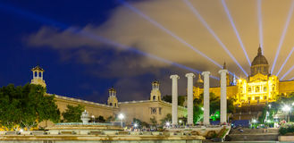 National Palace of Montjuic in evening Royalty Free Stock Photos