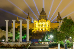 National Palace of Montjuic in evening Royalty Free Stock Image