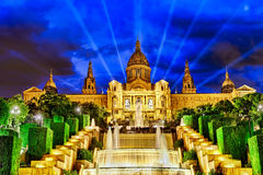 National Palace and  Montjuic Fountain. Stock Photos