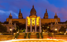 National Palace of Montjuic in summer evening Stock Image