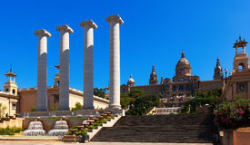 National Palace of Montjuic in sunny day. Barcelona Stock Images