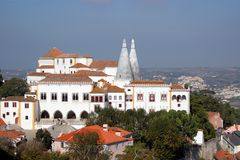 National palace in sintra. Viewed from a far point Stock Images