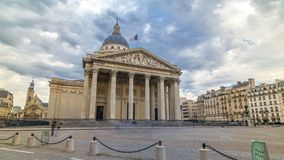 National pantheon building timelapse hyperlapse, front view with street and people. Paris, France stock video
