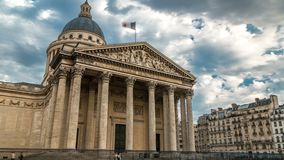 National pantheon building timelapse hyperlapse, front view with street and people. Paris, France stock video footage