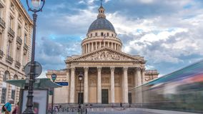 National pantheon building timelapse hyperlapse, front view with street and people. Paris, France stock footage