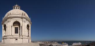 National Pantheon dome extending over tagus river in Lisbon Stock Photography