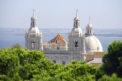 The national Pantheon of the heroes of the Baroque Church Vincent of Zaragoza Lisboa Portugal Catholicism panorama. Panoramic view from the fortress of St stock photography