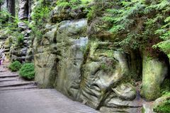 National Park of Adrspach-Teplice rocks. Rock Town Stock Photo