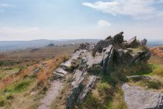 National Park of Armorica in Brittany France - Arrée Mountain. Roc`h Trevezel is one of the mountains in the Finistère National Park in Brittany Stock Photography