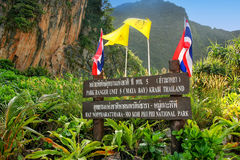 National park board on Phi Phi Leh Island, Krabi Province, Thail Royalty Free Stock Image
