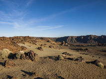National Park (El Teide - Tenerife). Volcanic landscape - stone - hills - blue sky - bright daylight Royalty Free Stock Photos