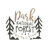 National park forest protection design template, hand drawn vector Illustration Royalty Free Stock Images