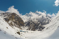 National Park in Himalaya. White snow peaks and rocks landscape, severe winter in cold climate Stock Photography