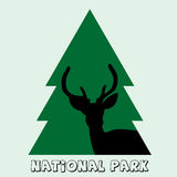 National park icon with deer stag and fir Stock Image