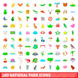 100 national park icons set, cartoon style. 100 national park icons set in cartoon style for any design illustration Royalty Free Stock Images
