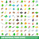 100 national park icons set, isometric 3d style Stock Photos