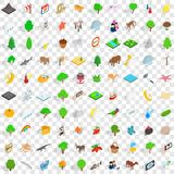 100 national park icons set, isometric 3d style Stock Image