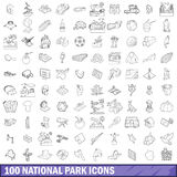100 national park icons set, outline style. 100 national park icons set in outline style for any design vector illustration stock illustration