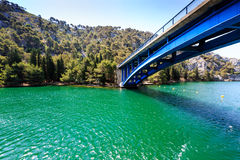 National Park Krka and Blue Bridge over River Royalty Free Stock Images