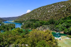 National Park Krka and Cascade of Waterfalls Stock Images