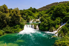 National Park Krka and Cascade of Waterfalls Royalty Free Stock Images