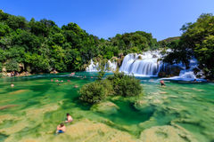 National Park Krka and Cascade of Waterfalls Stock Image