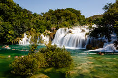 National Park Krka and Cascade of Waterfalls on River Krka Stock Images