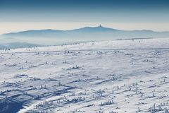 National park Krkonose Giant mountains. This is the road to the Stezka - the highest mountain of Czech republic. Sunny winter day. royalty free stock image