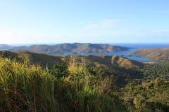 National park Mochima island in Venezuela. View down from road to national park Mochima island in Venezuela royalty free stock photos