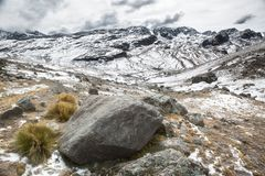 National park parque Tunari in the high Andes Near Cochabamba, Bolivia. A beautiful wild landscape ideal for hiking and trekking royalty free stock photo