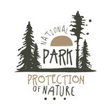National park protection of nature design template, hand drawn vector Illustration Stock Image