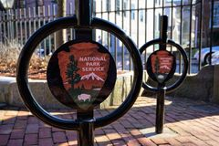 National Park Service emblems New Bedford Massachusetts stock photo