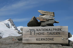 National park sign. In the Alps Royalty Free Stock Photo