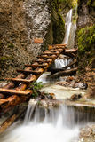 National park  - Slovakian paradise, Slovakia. Mountain stream with ladder in canyon Stock Photo