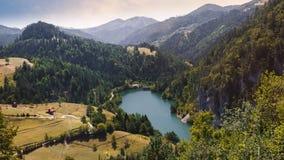 Lake Zaovine, Tara National Park, Serbia. National park Tara mountain, lake Zaovine, Wester Serbia, aerial view royalty free stock photos
