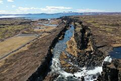 The National Park Thingvellir and the river Oxara and The waterfall Oxara.