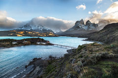 The National Park Torres del Paine, Patagonia, Chile. Beautiful view of a blue lake with the Paines in the background in The National Park Torres del Paine Royalty Free Stock Photo