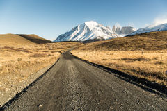 The National Park Torres del Paine, Patagonia, Chile. Empty road with a beautiful landscape in The National Park Torres del Paine, Patagonia, Chile Stock Images