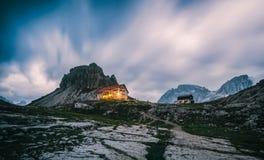 National Park Tre Cime di Lavaredo with rifugio Locatelli. Royalty Free Stock Photos