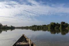 Fishing boat on the niger river, Niger stock photography
