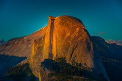 National Park Yosemite Half Dome lit by Sunset Light Glacier Poi Royalty Free Stock Images