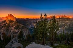 National Park Yosemite Half Dome lit by Sunset Light Glacier Poi Royalty Free Stock Image