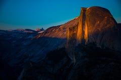 National Park Yosemite Half Dome lit by Sunset Light Glacier Poi Royalty Free Stock Photography
