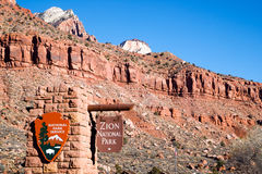 National Parks Service Entrance to Zion National Park Utah Stock Photo
