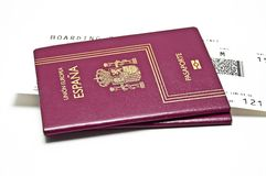National passport. Airline tickets on a white background Stock Photos