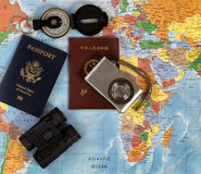 National passports with other travel items Stock Photo