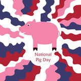 National pig day. Concept with a pink animal figure on red white and blue colored waves background. Stock vector illustration for the celebration on the 1 of vector illustration